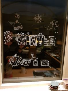 Allerlei winter #raamtekening'en door Evelien H (winter letters, download tot 22.12.17 gratis op de #raamtekenweken website)