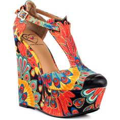 Penny Loves Kenny Women's Nira - Black Multi ($68) ❤ liked on Polyvore featuring shoes, wedges, heels, black multi, platform shoes, colorful wedge shoes, retro shoes, black t strap shoes and colorful shoes