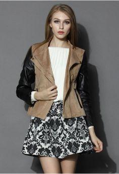 Two-tone Suede Faux Leather Biker Jacket