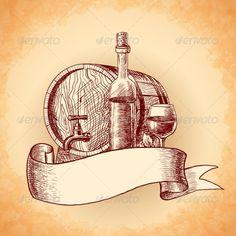 Wine Hand Drawn Background ...  album, alcohol, background, banner, barrel, bottle, cover, decorative, design, drink, flyer, food, fruit, glass, grape, grapevine, layout, ornate, paper, poster, print, promo, restaurant, ribbon, template, title, vine, vintage, wallpaper, wine