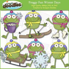 Froggy Fun Winter Days Clip Art