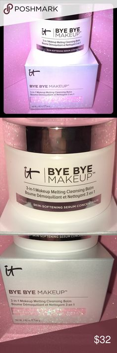 """IT COSMETICS Bye Bye Makeup Melting Cleansing Balm BRAND NEW IN BOX 100% AUTHENTIC!                              IT COSMETICS Bye Bye Makeup™ 3-in-1 Makeup Melting Cleansing Balm """"Bye Bye Makeup™ is your revolutionary fast-acting cleanser, makeup remover and anti-aging serum all in one. The formula contains proprietary Skin-Softening Serum Concentrate™, collagen, hyaluronic acid, peptides, ceramides, and antioxidants to leave your skin looking hydrated, supple, and visibly radiant. This…"""