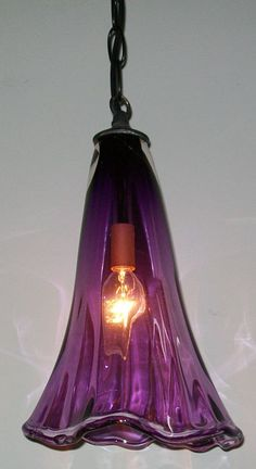 Purple crystal pendant lamp
