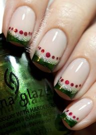 Festive french tips nail art design - green shimmer tips lined with silver glitter and red dots details