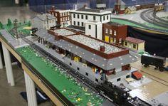 Lego Train Station, Train Stations, Lego Trains, Pennsylvania Railroad, Lego Room, Lego Models, Lego Stuff, Lego Instructions, Train Layouts