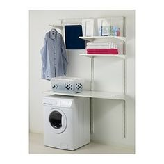 ALGOT Wall upright/shelves/drying rack - IKEA  In configuration as picture.  OR stack the W/D and put it along the wall to the right and add more drying shelves