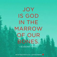 """""""Joy is God in the marrow of our bones."""" -Eugenia Price Joy Quotes, Bible Verses Quotes, Joy Of The Lord, Choose Joy, Good Thoughts, Uplifting Thoughts, Joy And Happiness, Finding Joy, Christian Life"""