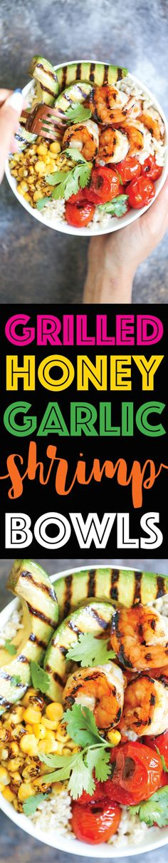 Grilled Honey Garlic Shrimp Bowls - So quick and easy! And that honey garlic sauce is AMAZING! No grill? You can easily saute this on a pan in minutes!!!