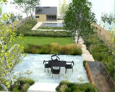 This landscape architect created a beautiful and simplistic combination of modern lines and foliage. Great composition!