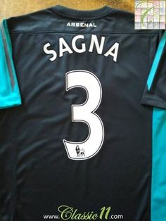 Official Nike Arsenal away football shirt from the 2011/2012 season. Complete with Sagna #3 on the back of the shirt in official Lextra Premier League lettering.