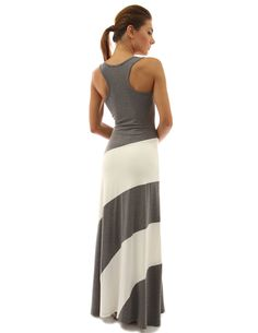 PattyBoutik Womens Racerback Striped Maxi Dress Gray and Ivory White S >>> To view further for this item, visit the image link. (This is an affiliate link) #CasualDresses