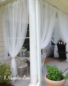 56 Trendy Ideas For Small Pergola Diy Outdoor Curtains Diy Outdoor, Screened In Porch Diy, Decks And Porches, Outdoor Curtains, Porch Decorating, Patio Decor, New Homes, Curtains, Apartment Patio Decor