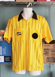 Referee Jersey Shirt Soccer Sz M Yellow Black USSF Official Sports Short Sleeved #OfficialSports