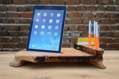 Unique Gift Wooden organizer iPad 4 stand Desk by WoodRestart