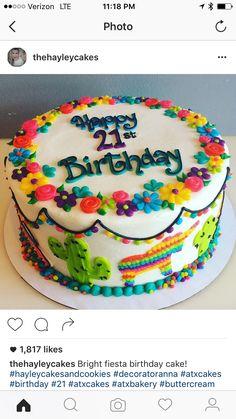 ideas for birthday cake st pattys Fiesta Theme Party, Taco Party, Mexican Fiesta Cake, Mexican Cakes, Mexican Birthday Parties, 21st Birthday, Cake Birthday, Birthday Ideas, Mexican Party Decorations