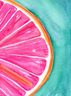 Grapefruit Watercolor Painting, Original Citrus ART 5 x 7 kitchen decor, wall art, grapefruit painting on turquoise by SharonFosterArt on Etsy