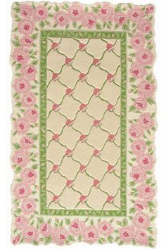 "Shabby Chic Dollhouse Rug This dollhouse miniature area rug design is printed onto a thin cotton fabric for a nice, low profile look in you victorian french, or shabby chic dollhouse or room box display. Approximately 3"" by 5"" (inches) with unique irregular shaped rosebud border."