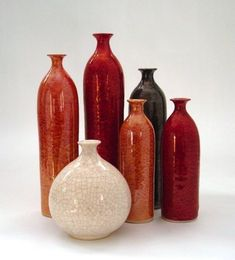 Six minimalist wheel thrown pottery bottles by blueroompottery
