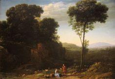 `pastoral` paysage avec un mill - (Claude Lorrain)