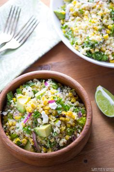 Charred Corn Salad with Feta, Mint & Quinoa by sweetpeasandsaffron: A fresh, summery salad packed with healthy corn, quinoa, herbs, avocado and feta cheese and tossed in a light white-wine vinegar & lime juice vinaigrette. #Salad #Corn #Quinoa #Feta #Lime #Avocado #Healthy