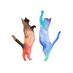 ORIGINAL watercolor painting of a Cat Party by Animalogy on Etsy