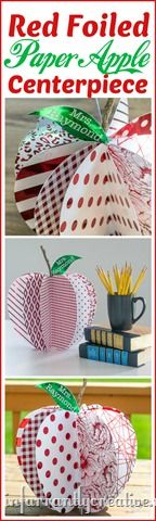 DIY PAPER CRAFTS   Large paper apple centerpiece ~ Find the step-by-step tutorial to make this apple out of paper. It makes a great teacher gift for back-to-school and looks adorable on a desk or shelf!