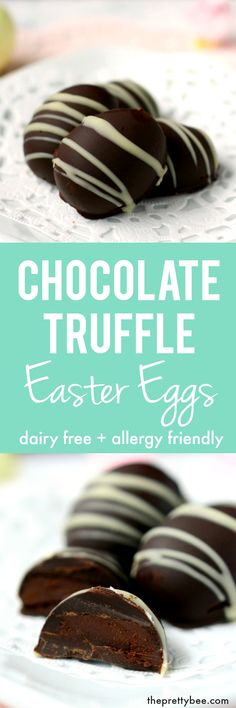 Easy to make chocolate truffle Easter eggs - these just require two ingredients!