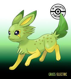Citreon (Grass/Electric) - On rare occasion, an Eevee can be affected by more than one environmental factor, and reacts to grow into a new, rare evolution. Grass/Electric Eeveelutions are capable. Pokemon Rare, Pokemon Oc, Pokemon Fan Art, Pokemon Stuff, Pokemon Fusion Art, Pokemon Original, Pokemon Kalos, Pokemon Eevee Evolutions, Pokemon Breeds