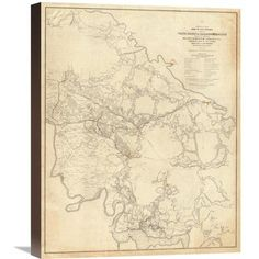 Global Gallery Civil War - White House To Harrisons Landing, 1862 by Henry L. Abbot Graphic Art on Wrapped Canvas Size:
