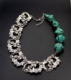 Tribal Turquoise unique necklace by minakaja on Etsy, $35.00