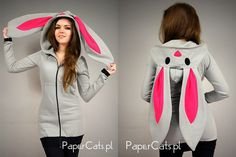 Bunny Rabbit Hoodie ears Kawaii very long cotton by PaperCatsPL, $73.00