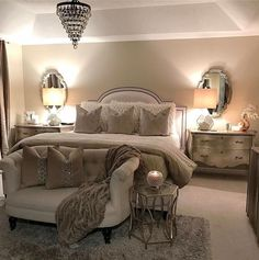 If you're also contemplating the exact same thing, then you may want to try elegant style for the master bedroom design ideas. Small Master Bedroom Design, in designing the house you would like so it appears very comfortable that you stay. Master Room, Master Bedroom Design, Dream Bedroom, Home Decor Bedroom, Bedroom Designs, Bedroom With Couch, Bedroom Chair, Light Bedroom, Diy Bedroom