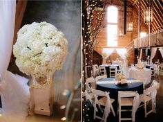 #kfb_events #rentals #prattplaceweddings #goldsequin #navyandgold #barnwedding #whiteflowers | hydrangea | wedding centerpiece | white wood chair
