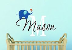 Elephant Decal , Boys Personalized Name Decal, Nursery Decor ** Want to know more, click on the image.