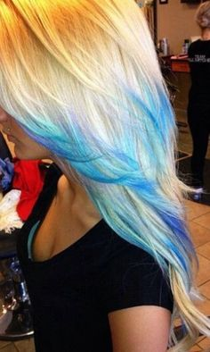 Blonde with Blue tips