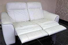 Designer White leather 2 seater sofa (132A) £349