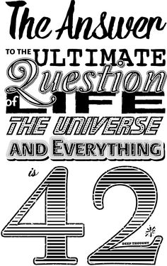 Typographical tribute to Douglas Adams' 'Hitchhikers Guide To The Galaxy. One of…