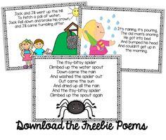 Freebie Kindergarten Weekly Poems!