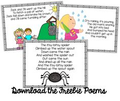 Freebie Kindergarten Weekly Poems!