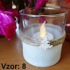 Sklenený svietnik Adam - Sviečka - S čajovou sviečkou LED (plus 1€), Vzor - Vzor 8
