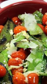 Inspired By eRecipeCards: Grilling Time (Side Dish) - Snow Peas, Cherry Tomatoes, Parmesan AND GARLIC