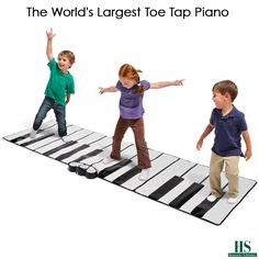 The World's Largest Toe Tap Piano - Measuring 8' long, this is the world's largest dance-on piano. The 28' sq. piano mat allows budding virtuosos to compose their own music as they dance, jump, or run on the keys. Fourteen white and 10 black keys—almost two full octaves—produce individual tones or melodic harmonies.