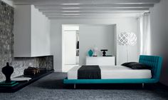 Blue Bedroom Color Platform Design With Black Carpet Covered Floor Plus Exposed Ceilnig Beams Equipped With Fireplace Bedroom Bedrooms Design Ideas: The Development of Ideas Bedroom design Modern Upholstered Beds, Blue Bedroom Colors, Perfect Bedroom, Bedroom Interior, Bedroom Design, Bed Contemporary Modern, Bed, Interior Design Bedroom, Grey Upholstered Bed