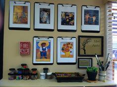 Mini-Atelier Wall Inspiration -put with painting centre Preschool Boards, Preschool Classroom, Preschool Art, Classroom Organisation, Classroom Design, Classroom Decor, Reggio Emilia Classroom, Teaching Portfolio, Family Day Care