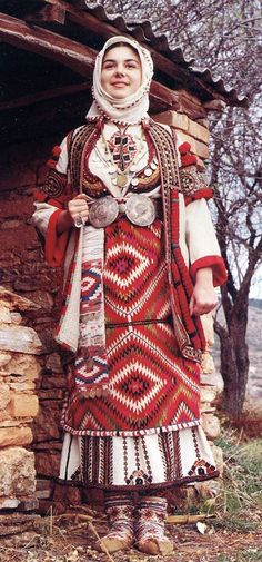 Costume of a young bride from Skopje Bulgaria