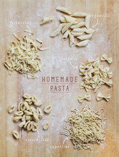 Homemade Pasta: Fettuccine, Garganelli, Farfalle, Capellini & Orecchiette