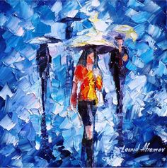 OIL ON CANVAS PAINTING DIRECTLY FROM FAMOUS ARTIST LEONID AFREMOV  Title: Rain Women Size: Variable Condition: Excellent Brand new Gallery Estimated Value: $ 4,500 Type: Original Recreation Oil Painting on Canvas by Palette Knife  This is a recreation of a piece which was already - #blueart #blueandwhite #affiliatelink