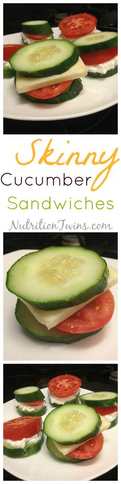 Skinny Cucumber Sandwiches | Only 50 Calories | Crunchy, Savory, Easy to make | Satisfying with 9 g protein | No soggy bread! |For MORE RECIPES please SIGN UP for our FREE NEWSLETTER www.NutritionTwins.com