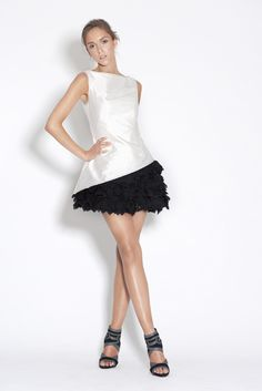 Danny Tang does couture glamour with this sweet ruffle mini dress Interview Style, Ballet Skirt, Glamour, Boutique, Knitting, Formal Dresses, Mini, Skirts, Sweaters