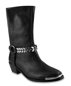Black & Gold Permission Leather Boot